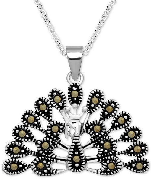 """Macy's Marcasite Peacock 18"""" Pendant Necklace in Fine Silver-Plate"""