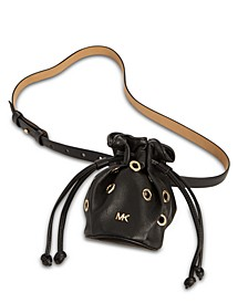 Leather Grommet Drawstring Belt Bag