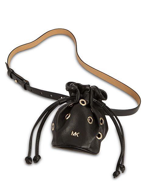 Michael Kors Leather Grommet Drawstring Belt Bag
