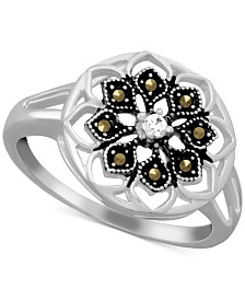 Marcasite & Crystal Openwork Statement Ring in Fine Silver-Plate