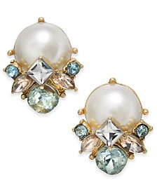Charter Club Gold-Tone Imitation Pearl & Crystal Cluster Stud Earrings, Created for Macy's