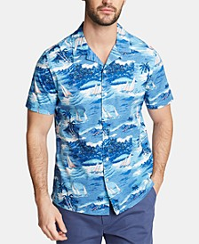 Men's Blue Sail Printed Camp Collar Shirt, Created for Macy's