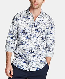 Men's Blue Sail Classic Fit Printed Poplin Button-Down Shirt, Created for Macy's