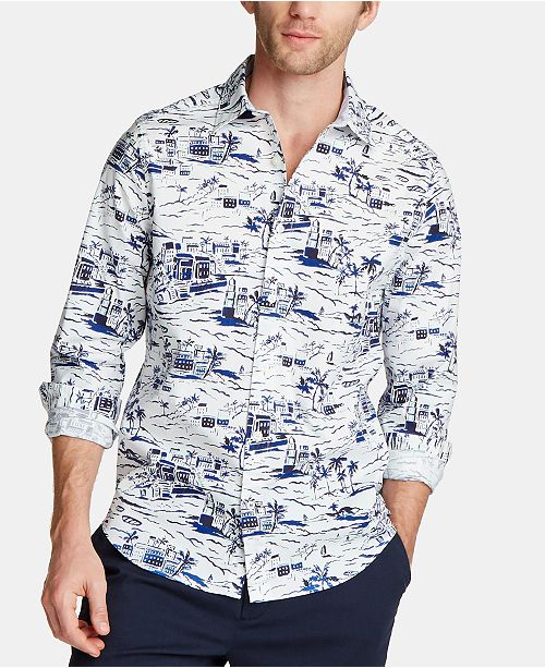 Nautica Men's Blue Sail Classic Fit Printed Poplin Button-Down Shirt, Created for Macy's