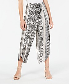Juniors' Printed Tie-Front Wrap Pants