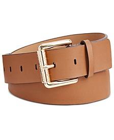 Leather Logo Roller Buckle Belt