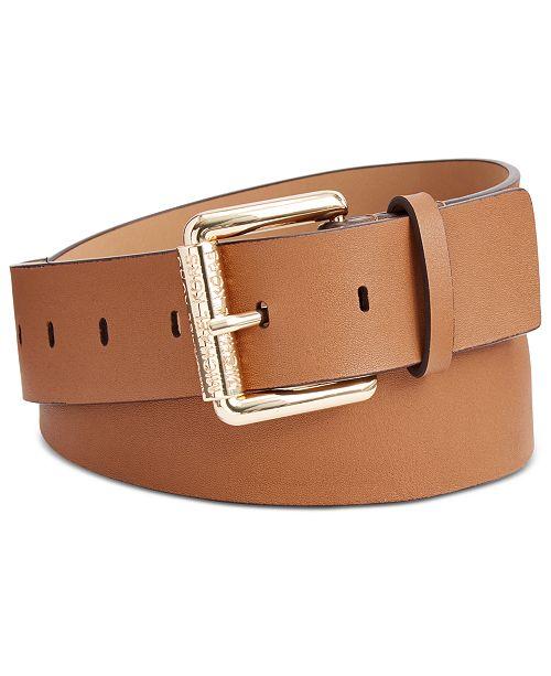 Michael Kors Leather Logo Roller Buckle Belt