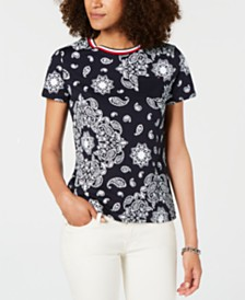 Tommy Hilfiger Cotton Printed Striped-Neck Top, Created for Macy's