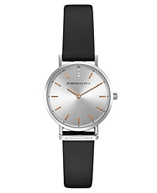 Ladies Round Black Genuine Leather Strap Watch, 30mm