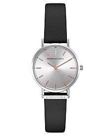 BCBGMAXAZRIA Ladies Round Black Genuine Leather Strap Watch, 30mm