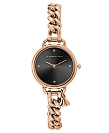 Ladies Round Rose Goldtone Stainless Steel Chain Bracelet with Crystal Charm Watch, 26mm