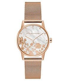 Ladies Round Rose Goldtone Mesh Strap Watch, 35mm