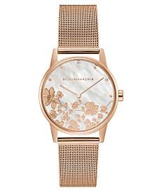 BCBGMAXAZRIA Ladies Round Rose Goldtone Mesh Strap Watch, 35mm