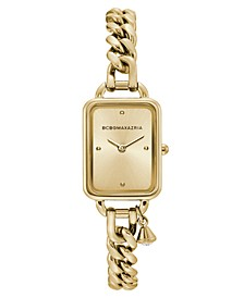 Ladies Rectangle Goldtone Stainless Steel Chain Bracelet with Crystal Charm Watch, 15mm x 21mm