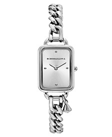 BCBGMAXAZRIA Ladies Rectangle Stainless Steel Chain Bracelet with Crystal Charm Watch, 15mm x 21mm