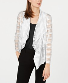 Alfani Drape Front Mesh Jacket, Created for Macy's