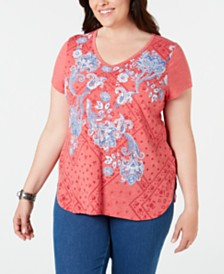 Style & Co Plus Size Floral Cloud Graphic T-Shirt, Created for Macy's