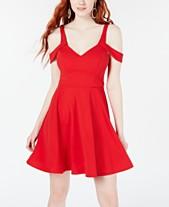 8d4f8f629e Sequin Hearts Juniors  Scuba Off-The-Shoulder Fit   Flare Dress