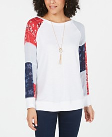 Style & Co Patchwork-Sleeve Top, Created for Macy's