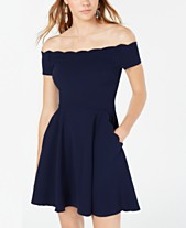 ab354121d08d B Darlin Juniors' Off-The-Shoulder Fit & Flare Dress, Created for