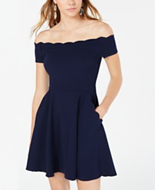 B Darlin Juniors' Off-The-Shoulder Fit & Flare Dress, Created for Macy's