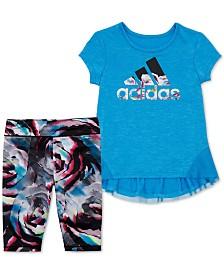 adidas Toddler Girls 2-Pc. Leap Logo Top & Printed Capri Tights Set