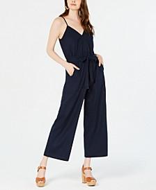 Petite Paperbag-Waist Wide-Leg Jumpsuit