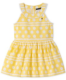 Tommy Hilfiger Baby Girls Striped Dot-Print Cotton Dress