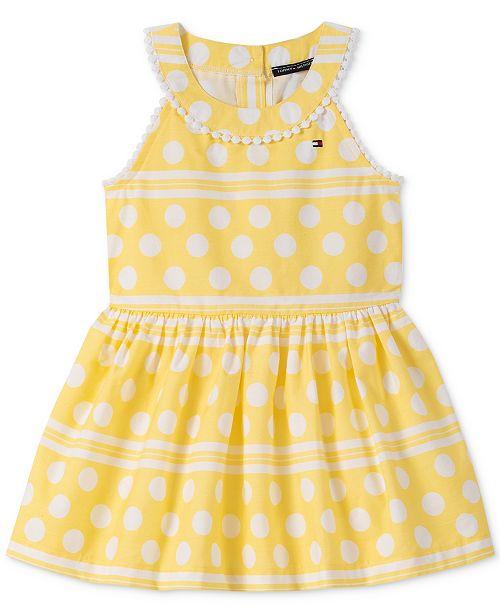 Tommy Hilfiger Baby Girls Striped Dot-Print Cotton Dress