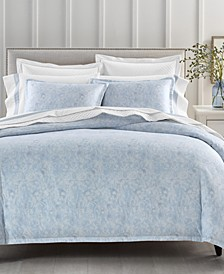 Sleep Luxe Cotton 800-Thread Count Paisley Blue Duvet Cover Collection, Created for Macy's