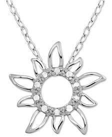 "Diamond Sun 18"" Pendant Necklace (1/10 ct. t.w.) in Sterling Silver"