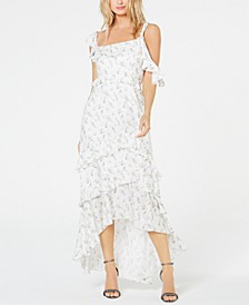 Joanna Printed Asymmetric Ruffled Midi Dress