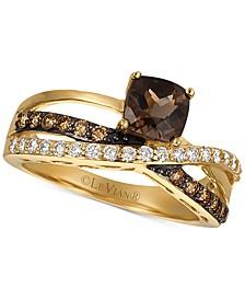 Smoky Quartz® (3/4 ct. t.w.), Vanilla Diamonds® (1/4 ct. t.w.) & Chocolate Diamonds® (1/4 ct. t.w.) Ring in 14k Gold