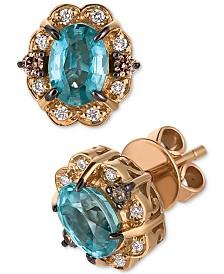 Le Vian® Blueberry Zircon™ (1-5/8 ct. t.w.), Vanilla Diamonds® (1/10 ct. t.w.) & Chocolate Diamonds® (1/10 ct. t.w.) Stud Earrings in 14k Rose Gold