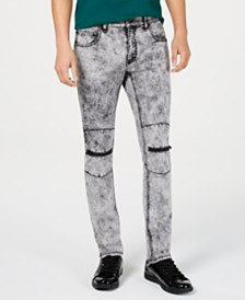 I.N.C. Men's Zip Snow Wash Skinny Jeans, Created for Macy's