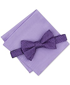 Alfani Men's Neat To-Tie Bow Tie & Solid Pocket Square Set, Created for Macy's