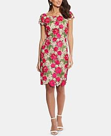 XSCAPE Petite Floral-Lace Sheath Dress