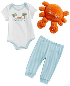 First Impressions Baby Boys Vacation Crab Graphic Bodysuit, Pants & Plush Doll Separates, Created for Macy's
