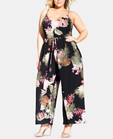 City Chic Trendy Plus Size Floral-Print Jumpsuit