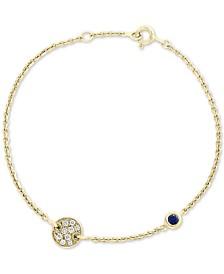 EFFY® Sapphire (1/8 ct. t.w.) & Diamond (1/10 ct. t.w.) Station Bracelet in 14k Gold