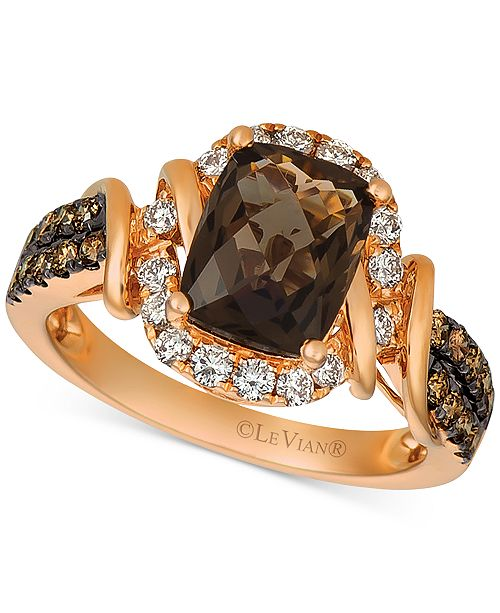 Le Vian Chocolate Quartz® (1-3/4 ct. t.w.) & Diamond (5/8 ct. t.w.) Statement Ring in 14k Rose Gold