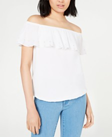 Michael Michael Kors Off-The-Shoulder Ruffle Top, Regular & Petite Sizes