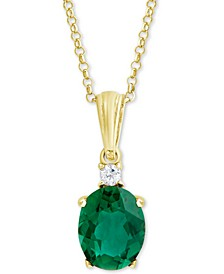 "Green Quartz (2-3/8 ct. t.w.) & White Topaz Accent 18"" Pendant Necklace in 18k Gold-Plated Sterling Silver"