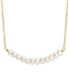"Freshwater Pearl 18"" Necklace (4mm) in 18k Gold-Plate Over Sterling Silver"