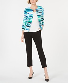 Kasper Printed Jacket, Camisole & Draped Pants
