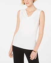 e7ee99ebfa5f8f Kasper Sleeveless Cowl-Neck Top