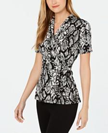 Calvin Klein Printed Belted Top