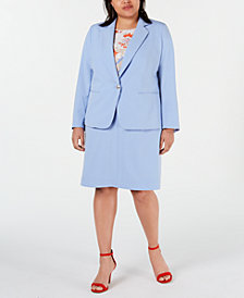 Bar III Plus Size Blazer, Floral-Print Blouse & A-Line Skirt, Created for Macy's