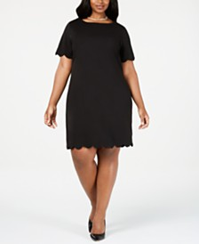Kasper Plus Size Scalloped Scuba Dress