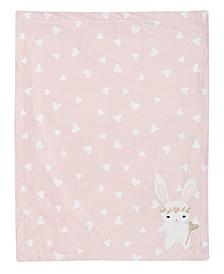 Confetti Bunny with Hearts Luxury Fleece Baby Blanket